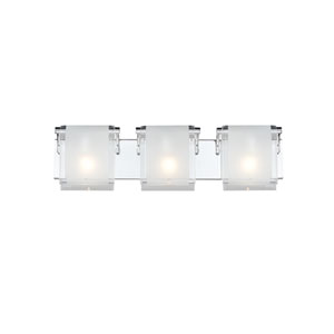Zephyr Three-Light Chrome Vanity Fixture with Frosted Glass Shades