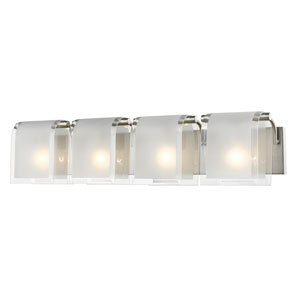 Zephyr Brushed Nickel Four-Light Vanity with Clear Beveled and Frosted Glass