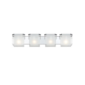 Zephyr Four-Light Chrome Vanity Fixture with Frosted Glass Shades