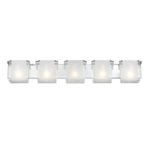 Zephyr Five-Light Chrome Vanity Fixture with Frosted Glass Shades