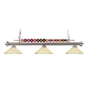 Shark Brushed Nickel Three-Light Billiard Pendant with Angle Golden Mottle Shade