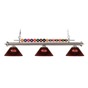 Shark Brushed Nickel Three-Light Billiard Pendant with Acrylic Burgundy Shade