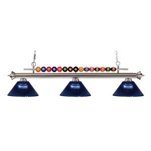 Shark Brushed Nickel Three-Light Billiard Pendant with Acrylic Dark Blue Shade