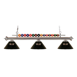 Shark Brushed Nickel Three-Light Billiard Pendant with Acrylic Smoke Shade