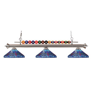 Shark Brushed Nickel Three-Light Billiard Pendant with Multicolor Tiffany Shade