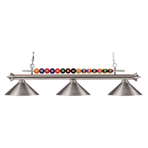 Shark Three-Light Brushed Nickel Island Pendant with Angled Brushed Nickel Metal Shades
