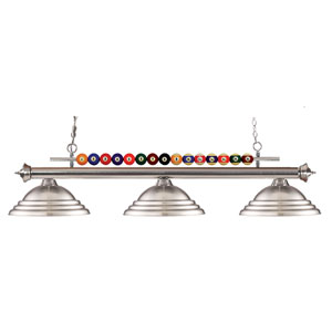 Shark Three-Light Brushed Nickel Island Pendant with Brushed Nickel Metal Shades