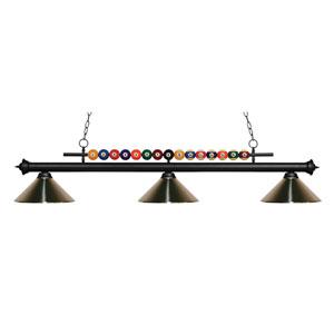 Shark Matte Black Three-Light Billiard Pendant with Brushed Nickel Shade