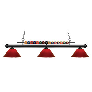 Shark Matte Black Three-Light Billiard Pendant with Red Shade