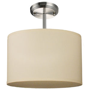 Albion Brushed Nickel One-Light 12-Inch Semi Flush Mount with Off White Shade