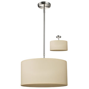 Albion Brushed Nickel Three-Light 16-Inch Convertible Pendant with Off White Shade