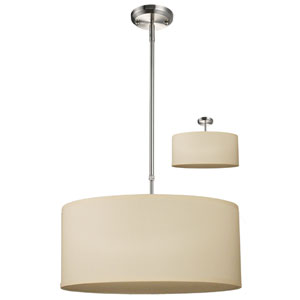 Albion Brushed Nickel Three-Light 20-Inch Convertible Pendant with Off White Shade