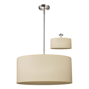 Albion Brushed Nickel Three-Light 24-Inch Convertible Pendant with Off White Shade
