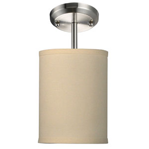 Albion Brushed Nickel One-Light 6-Inch Semi Flush Mount with Off White Shade