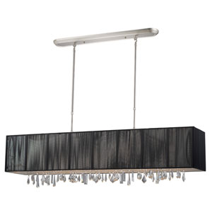Casia Brushed Nickel Five-Light 48-Inch Island Light with Black Shade and Crystals