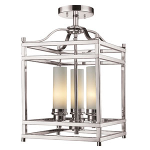 Altadore Brushed Nickel Three Light Semi Flush Mount