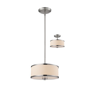 Cameo Brushed Nickel Two-Light Pendant with White Fabric Shade
