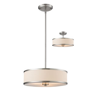 Cameo Brushed Nickel 15.5-Inch Three-Light Pendant