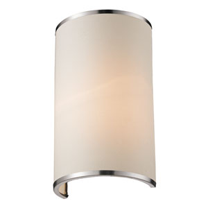 Cameo Brushed Nickel One-Light Wall Sconce with White Fabric Shade