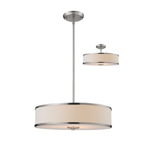 Cameo Brushed Nickel 19.5-Inch Three-Light Pendant with White Fabric Shade