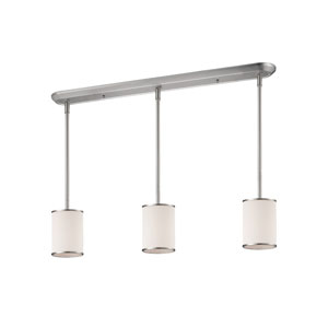 Cameo Brushed Nickel Three-Light Billiard Pendant with White Fabric Shade