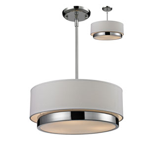 Jade Three-Light Chrome Convertible Drum Pendant with White Linen Shade