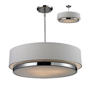 Jade Three-Light Large Chrome Convertible Drum Pendant with White Linen Shade