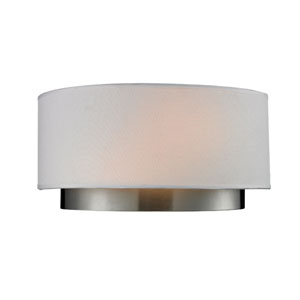 Jade Two-Light Chrome Wall Sconce with White Linen Shade