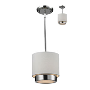 Jade One-Light Chrome Convertible Mini Pendant with White Linen Shade