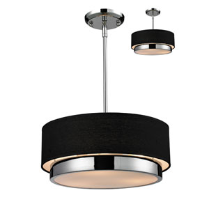 Jade Three-Light Chrome Convertible Drum Pendant with Black Linen Shade