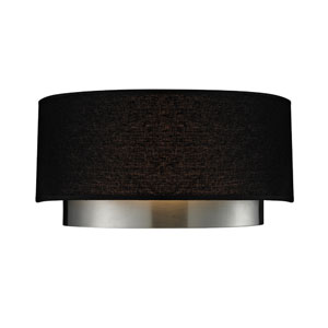 Jade Two-Light Chrome Wall Sconce with Black Linen Shade