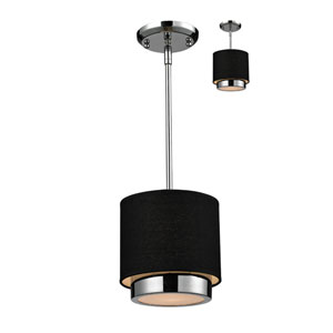 Jade One-Light Chrome Convertible Mini Pendant with Black Linen Shade