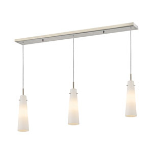 Monte Brushed Nickel Three-Light Billiard Pendant with Long Matte Opal Glass