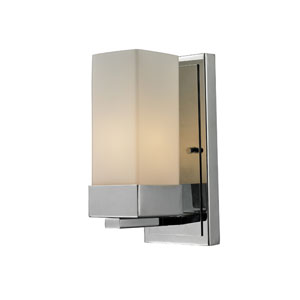 Sapphire One-Light Chrome Wall Sconce with Rectangular Matte Opal Shade