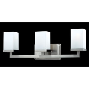 Tidal Brushed Nickel Three-Light Bath Fixture
