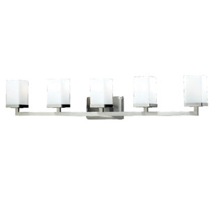 Tidal Five-Light Brushed Nickel Vanity Light with Rectangular Matte Opal Glass Shades