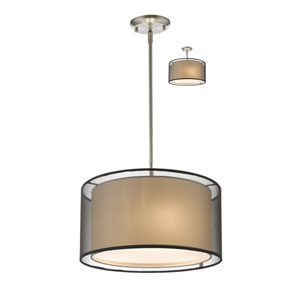Sedona Brushed Nickel Three-Light Pendant with Black Shade