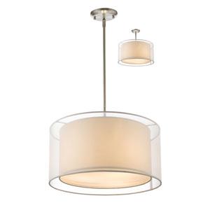 Sedona Brushed Nickel Three Light Pendant with White Shade
