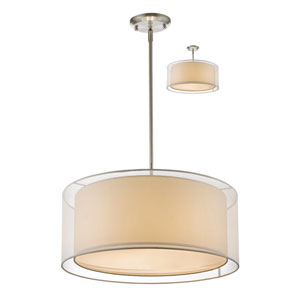 Sedona Brushed Nickel Three-Light Pendant with White Shade