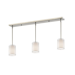 Sedona Brushed Nickel Three-Light Billiard Pendant with White Organza Shades