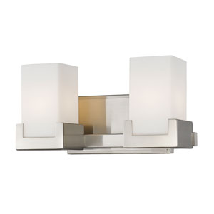 Peak Brushed Nickel Two-Light LED Bath Vanity