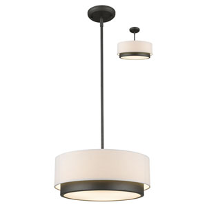 Jade Factory Bronze 16-Inch Three-Light Pendant with White Fabric Shade