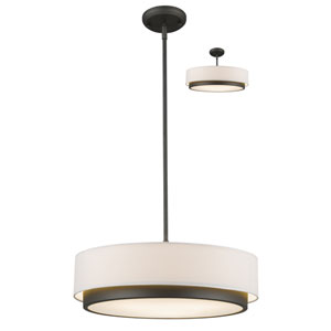 Jade Factory Bronze 22-Inch Three-Light Pendant with White Fabric Shade