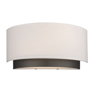 Jade Factory Bronze Two-Light Wall Sconce with White Fabric Shade