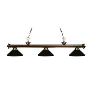 Riviera Antique Brass Three-Light Billiard Pendant with Matte Black Shades
