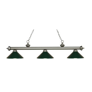 Riviera Antique Silver Three-Light Pendant with Dark Green Metal Shades