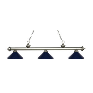 Riviera Antique Silver Three-Light Pendant with Navy Blue Metal Shades