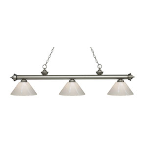 Riviera Antique Silver Three-Light Pendant with White Plastic Shades