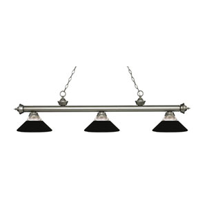 Riviera Antique Silver Three-Light Pendant with Matte Black Shades