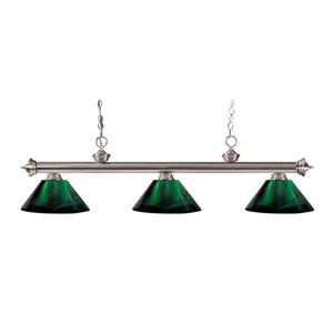 Riviera Brushed Nickel Three-Light Billiard Pendant with Green Acrylic Shades